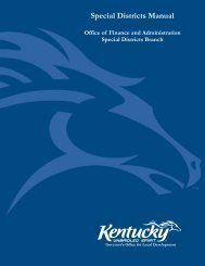 Special Districts Procedural Manual - Kentucky Department for Local ...