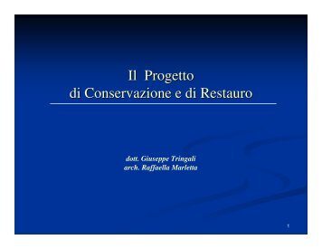 Il Progetto di Conservazione e di Restauro - Sdasr.unict.it