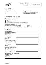 Fragebogen 1 Antrag für die Erfassung als Fragen zur Person