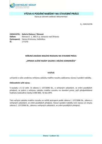 Výzva k podání nabídky - Klenová-jednorožec.pdf - Centrální nákup ...