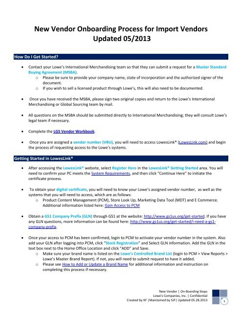 New Vendor Onboarding Steps for Import Vendors - LowesLink