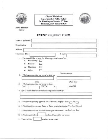 Request for Special Consideration Form - Hoboken NJ