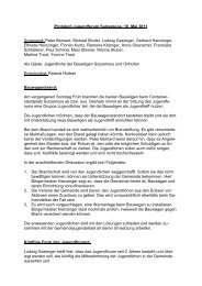 Protokoll Jugendforum Sulzemoos, 10. Mai 2011 Anwesend: Peter ...