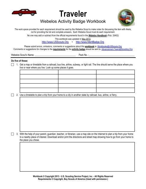Traveler Worksheet US Scouting Service Project