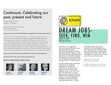 Dream Jobs Handout - AIGA San Francisco