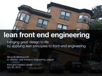 lean front end engineering - Bill Scott's Portfolio