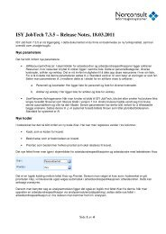 ISY JobTech 7.3.5 – Release Notes, 18.03.2011 - Norconsult