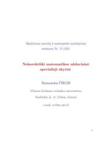Nekorektiški matematikos uždaviniai - techmat.vgtu.lt - Vilniaus ...