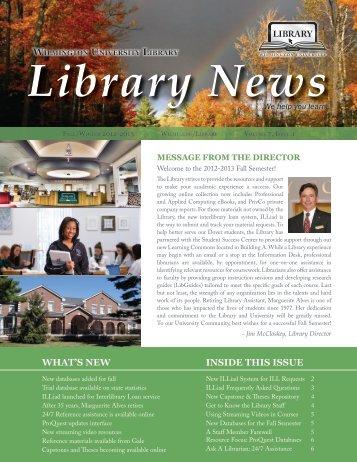 Fall/Winter 2012-2013 Newsletter - Wilmington University