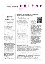November 2009 issue - Canberra Society of Editors