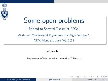Some open problems - Victor Ivrii - University of Toronto