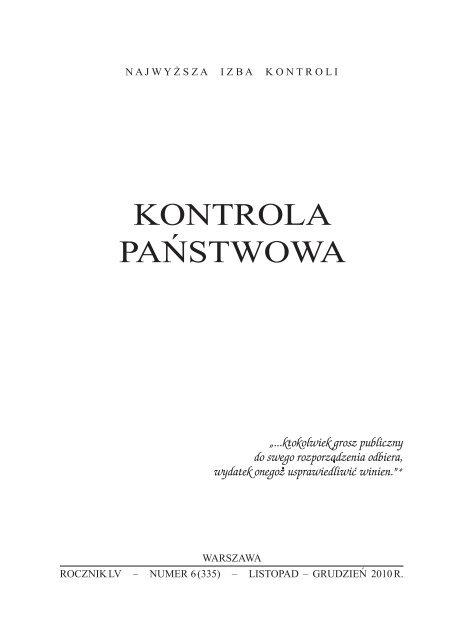 """""""Kontrola Państwowa"""" nr 6/2010 - Najwyższa Izba Kontroli"""