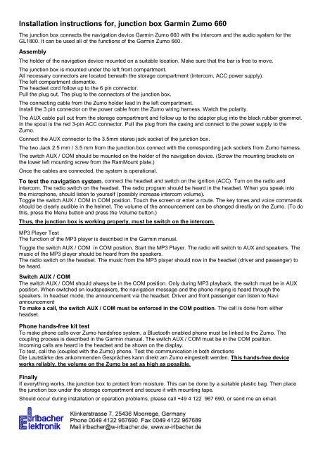 installation instructions for, junction box garmin zumo 660 - irlbacher  yumpu