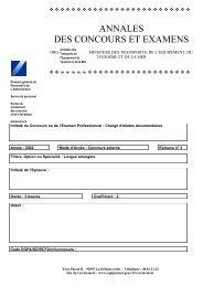 ANNALES DES CONCOURS ET EXAMENS - Ministère Equipement