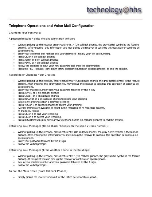 Telephone Operations and Voice Mail Configuration - Teri Varnado