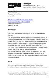 Über den Willen zum Wissen - WDR 3