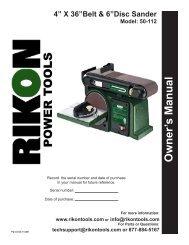 Owner's Manual - Rikon