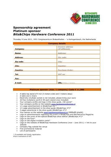 Platinum sponsorship agreement - Hardware Conference 2013