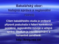 Bakalářský obor: Veřejná správa a regionální rozvoj