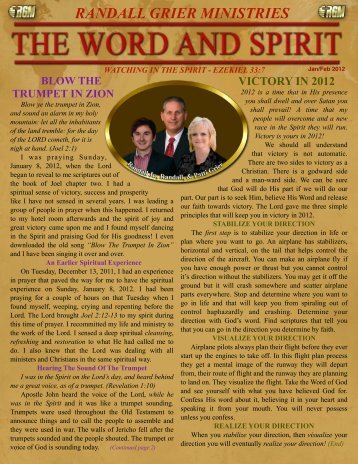 January 2012 Newsletter - Randall Grier Ministries