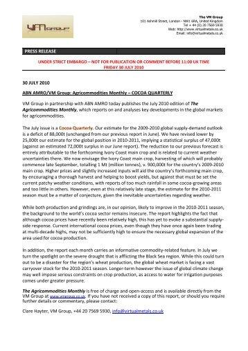 PRESS RELEASE 30 JULY 2010 ABN AMRO/VM ... - Virtual Metals