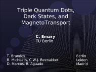 Triple Quantum Dots, Dark States, and MagnetoTransport - TU Berlin