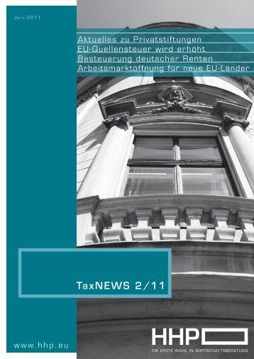 TaxNEWS 2/11 - HHP - Hammerschmied Hohenegger und Partner