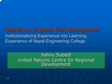 Masters in Disaster Risk Management Transferring ... - auedm