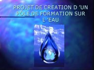 PROJET DE CREATION D 'UN PÔLE DE FORMATION SUR L 'EAU