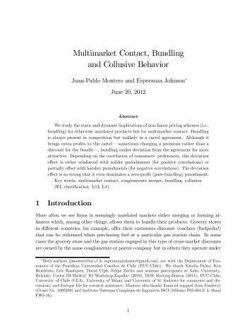 Multimarket Contact, Bundling and Collusive Behavior - Cemfi