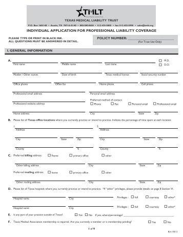 Individual application - TMLT