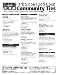 Community Ties Newsletter - Park Slope Food Coop
