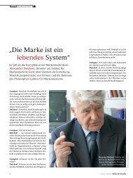 """""""Die Marke ist ein lebendes System"""" - Institut für Markentechnik Genf"""