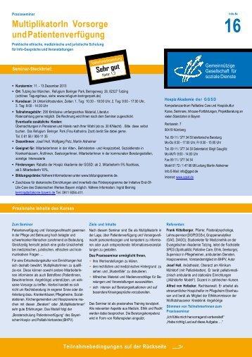 Praxisseminar Multiplikator/in Vorsorge und ... - End-Of-Life-Care