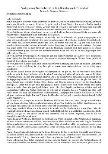 Predigt am 4. November 2012 - johannesgemeinde.org.za