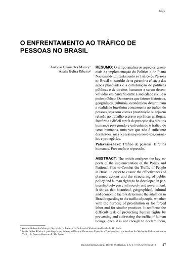 o EnfrEntAmEnto Ao tráfiCo DE PESSoAS no BrASiL - revista ...
