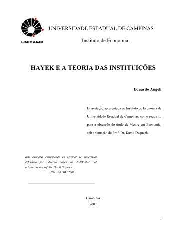 HAYEK E A TEORIA DAS INSTITUIÇÕES