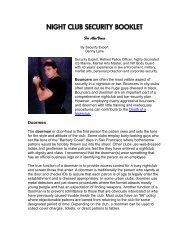 night club security booklet - Danny Lane Martial Arts Website