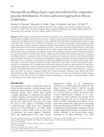 Interspecific profiling of gene expression informed ... - Hans Hofmann