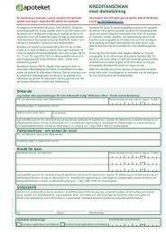 Kreditansökan med delbetalning, AB 1162 - Apoteket