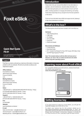 quick start guide-09.7.19-单页 - Foxit