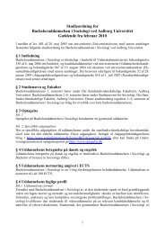 Bachelor i Sociologi, 2010 - Det Samfundsvidenskabelige Fakultet ...