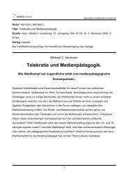 Telekratie und Medienpädagogik. - Mediaculture online