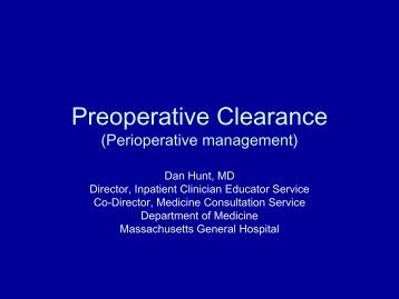 Preoperative Clearance (Perioperative management)