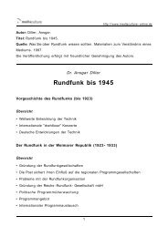 Rundfunk bis 1945 - Mediaculture online