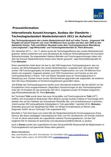 Pressetext Bilanz Technologie - beim TFZ Wiener Neustadt
