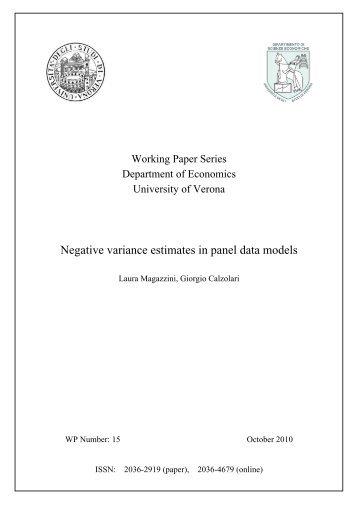 Negative variance estimates in panel data models - DSE
