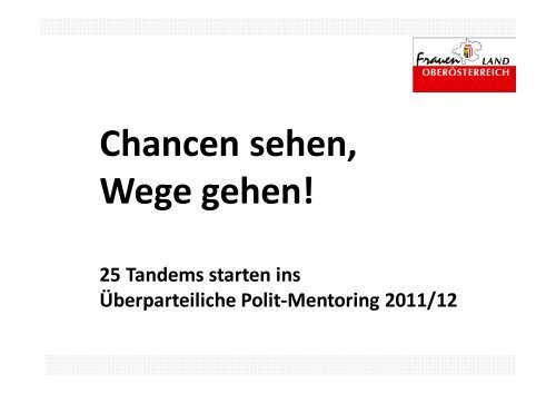 Mentoring Tandems 2011 - Frauenreferat