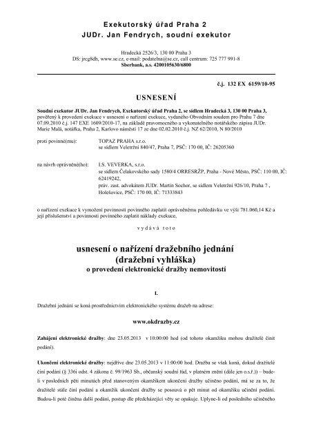 usnesení o nařízení dražebního jednání (dražební vyhláška) - Praha 7