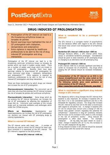 DRUG INDUCED QT PROLONGATION - GGC Prescribing